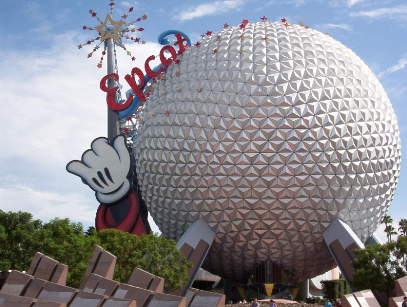EPCOT when it had the Mickey hand and EPCOT name on top of the ball